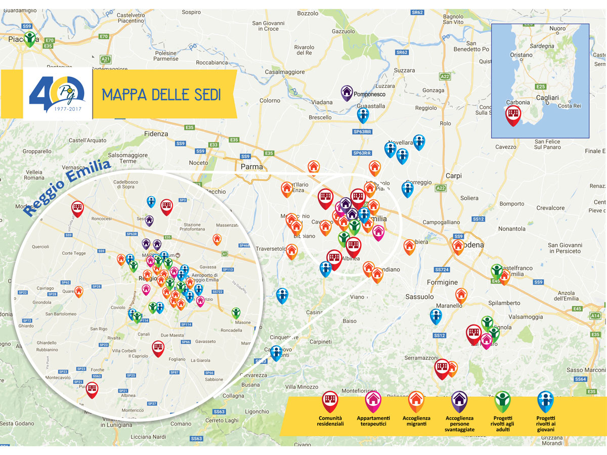 mappa delle sedi PG23